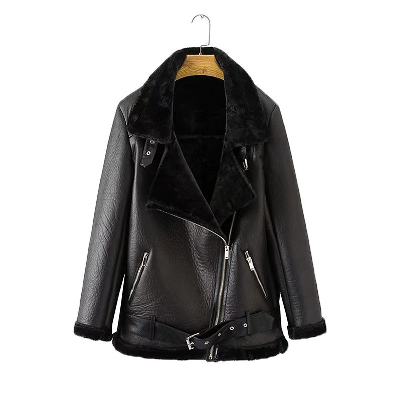 Female Fur Leather Jacket Winter Coats Aviator Outwear Women Thickness Faux Leather Fur Sheepskin