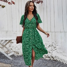 Yg brand women's new Bohemian mid long short sleeve floral V-neck dress in spring and summer of 2021