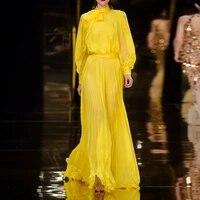 womens dress 2021 new fashion catwalk yellow pleated lantern sleeve bow tie long dress banquet dress
