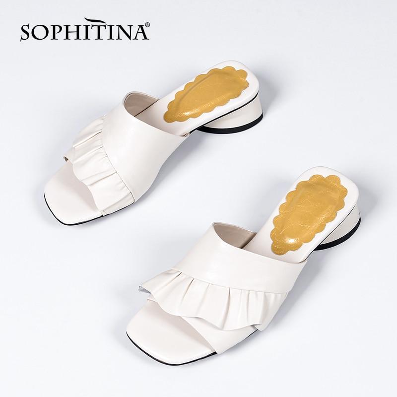 سوفيتينا نعال غير رسمية نساء موضة جلد طبيعي كعب مستدير مطوي نعال موجزة الصيف خارج السيدات أحذية DO505