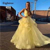 eightree yellow tiered 2021tulle sleeveless court long weeding party dress elegant deep v neck spaghetti lace evening dress