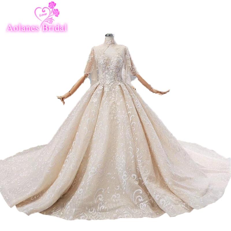 Robe De mariée en dentelle avec Cape Royal Tail Robe De mariée De luxe paillettes cristaux Robe De mariée