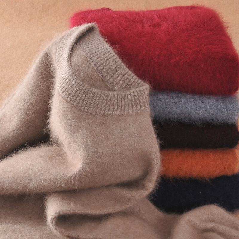 Jerseys para hombre, suéteres tejidos de Cachemira de visón 100%, nueva moda de invierno 2019, jerséis gruesos cálidos, suéter para hombre, envío gratis