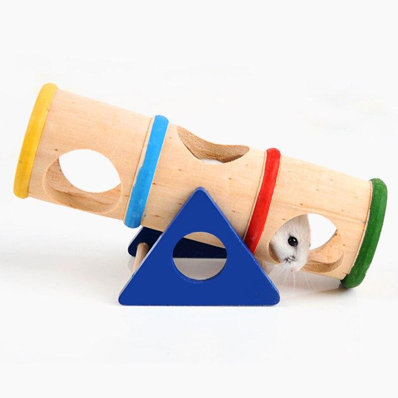 Balancín para jaula de madera para hámster Mini Animal Países Bajos cerdo pequeño ratón túnel juguete de Fitness mascota pequeña porosa diseño accesorios para el hogar