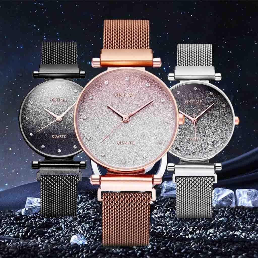 Reloj mujer moda senhoras relógio de pulso céu ímã banda feminina quartzo diamante relógios de pulso bayan kol saati