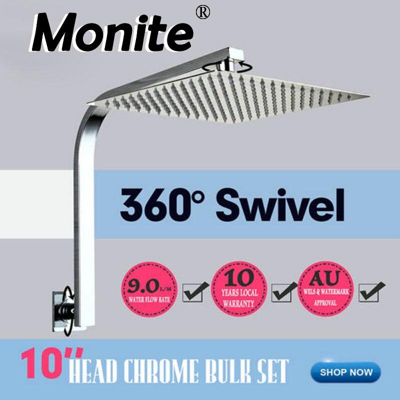Monite LED 6 8 10 12 16 بوصة دش رئيس الحمام الحائط ساعة الوقواق الأمطار دش رئيس خلاط الكروم إنهاء البخاخ الحنفية