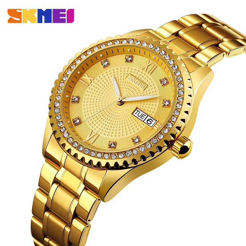 SKMEI Fashion Automatic Mechanical Watch Mens Watches Top Brand Luxury Business Gold Watch Men Clock Reloj Mecanico de Hombres