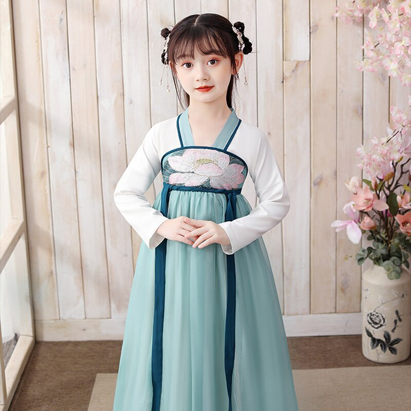 Girl Dress Chinese Traditional Folk Dance Costume Kids Ancient Hanfu Oriental Style Tang Dynasty Clothing Fairy Cosplay Gowns