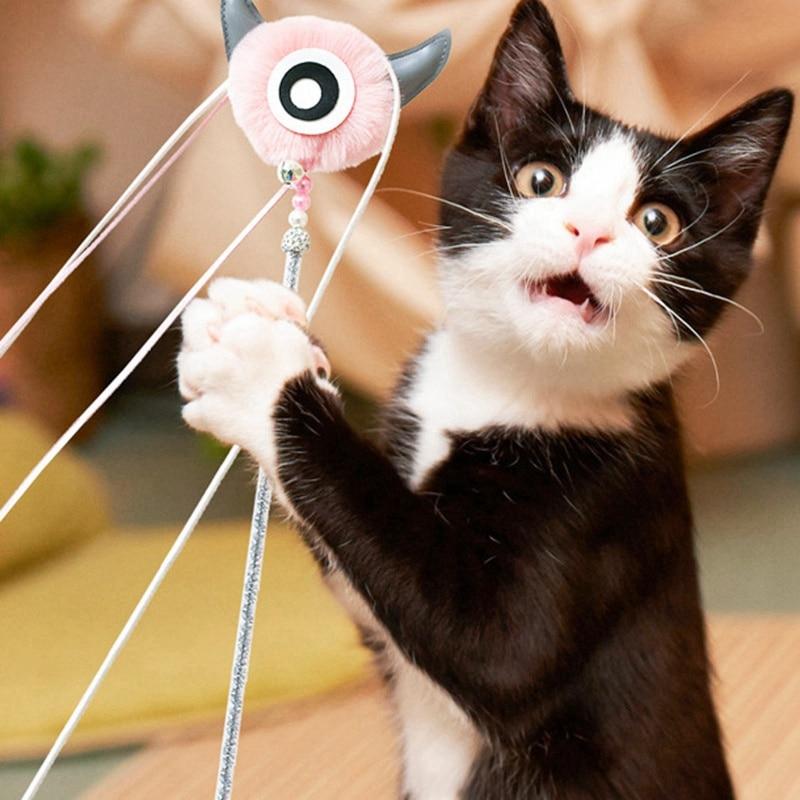 2021 Интерактивная палочка для кошек, игрушка с кисточкой, плюшевая игрушка-колокольчик, длинная палочка, интерактивная игрушка для котят, то...