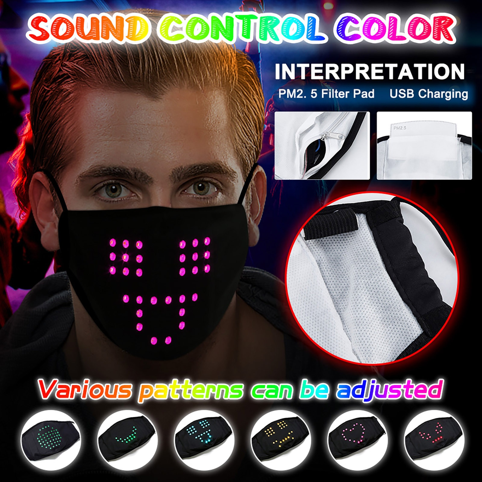 Headband LED Voice-Activated Luminous Mask Mask Masquerade Festival Party Face Mask 5PCS mondkapje met led mascherine бандана#