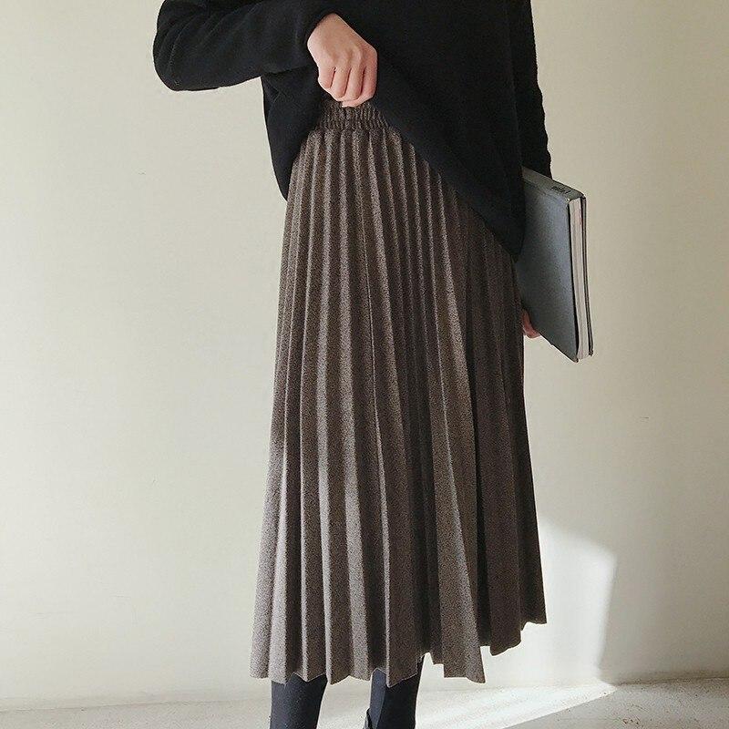 Invierno mezcla largo plisado A-line faldas Otoño de alta cintura estilo japonés cálido mitad de la pantorrilla larga faldas caqui gris