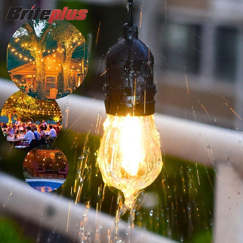 Christmas Lighting Strings Patio Festoon LED Bulb Fairy String Light Outdoor Party Garden Garland Wedding Decorative