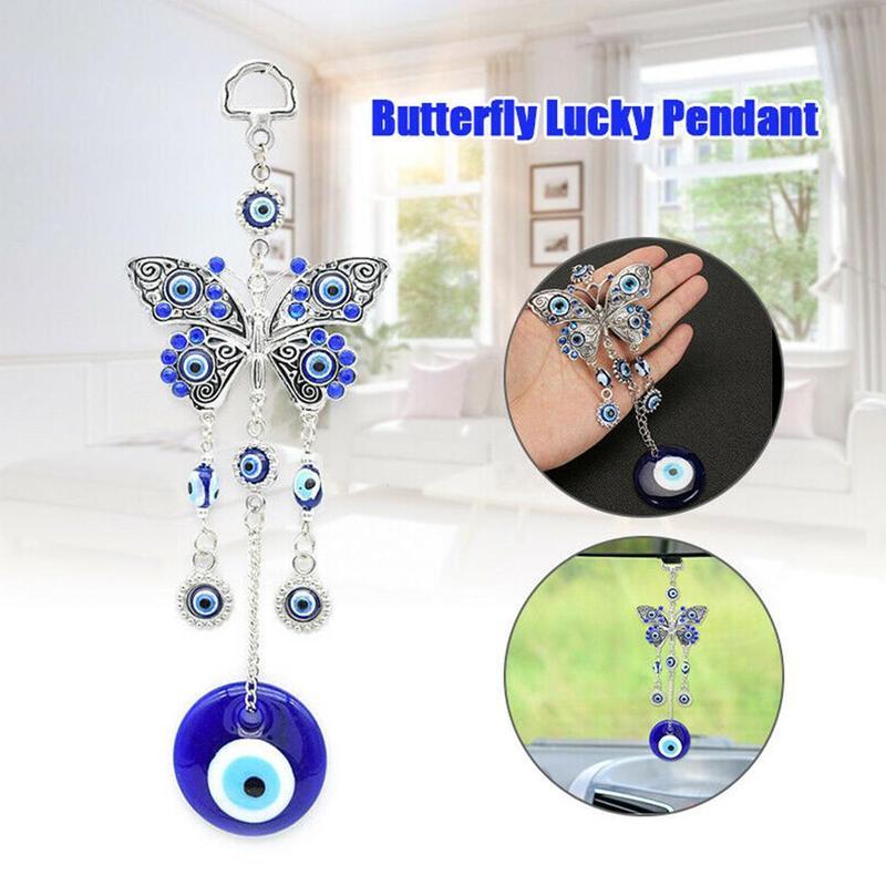 1 ud. Colgante de mariposa de la suerte DIY turco de la suerte cristal azul amuleto ojo malvado colgante de moda encantos ornamento coche decoración de la Oficina