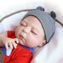 NPK 48CM Original Full Body Silicone Bebe Doll Reborn Boy Has Two Color Hair Baby Birthday Gift Bath