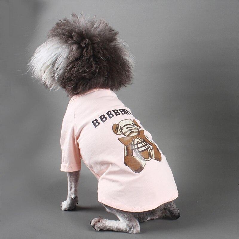 Estampado de oso verano camiseta de cachorro de algodón traje para PUG PC1415 S-2XL