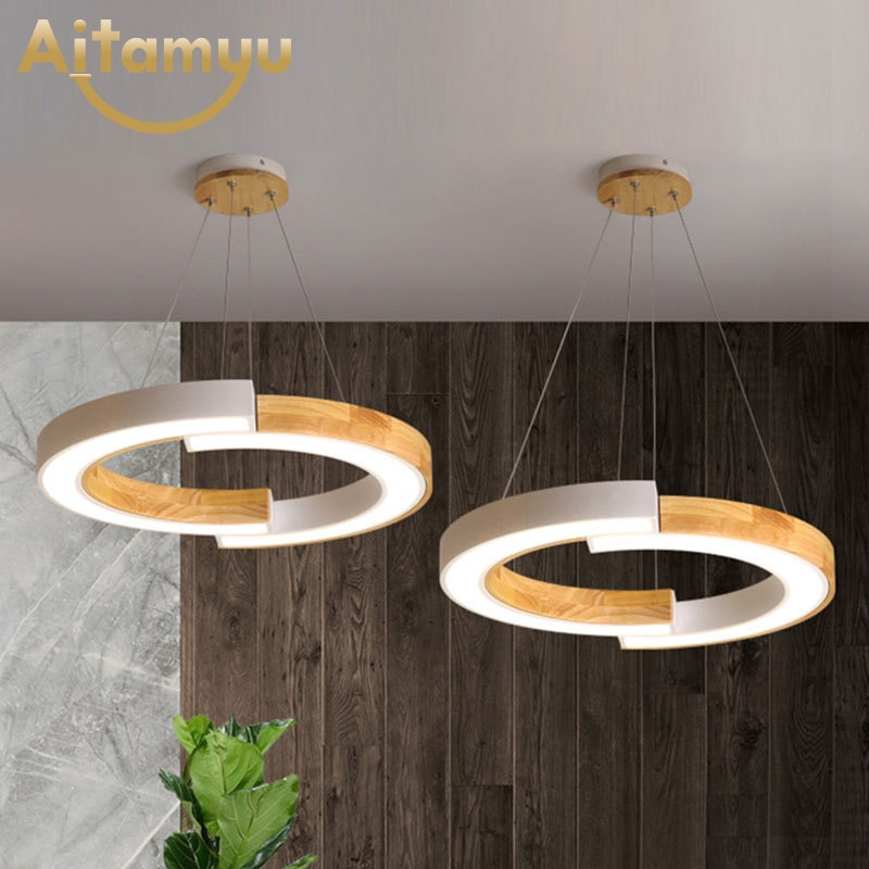 Wooden Lampshades Rings Pendant Lights For Dining Hotel Hall Suspension Lamp  Kitchen Hanging Home Lighting Fixtures 2019 trazos pendant lights led modern for dinning room wooden metal suspension hanging ceiling lamp home lighting for kitchen