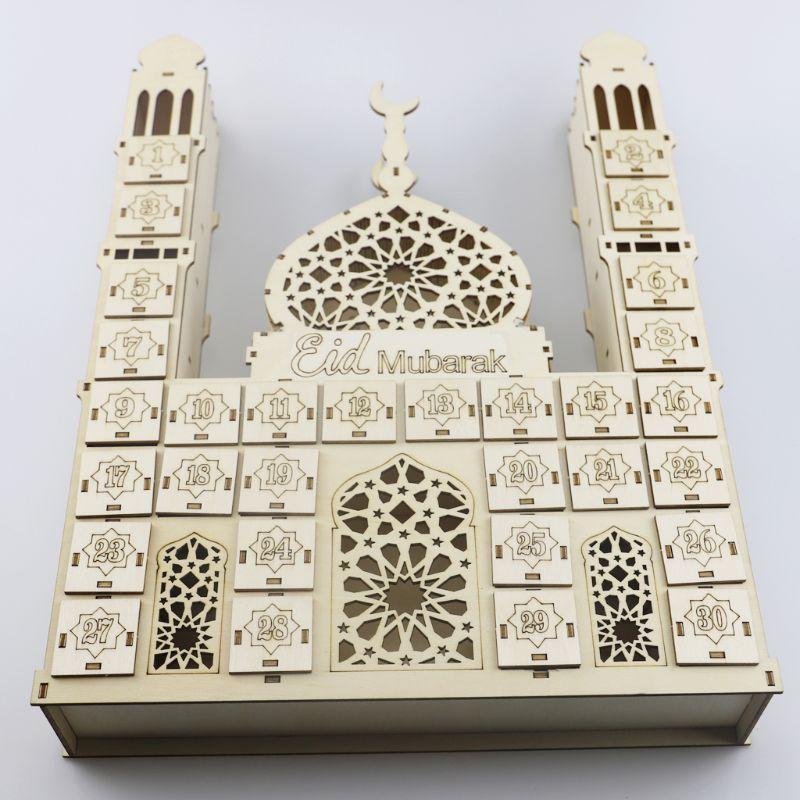 Eid mubarak calendário contagem regressiva diy ramadan ornamentos gaveta de madeira festa decoração