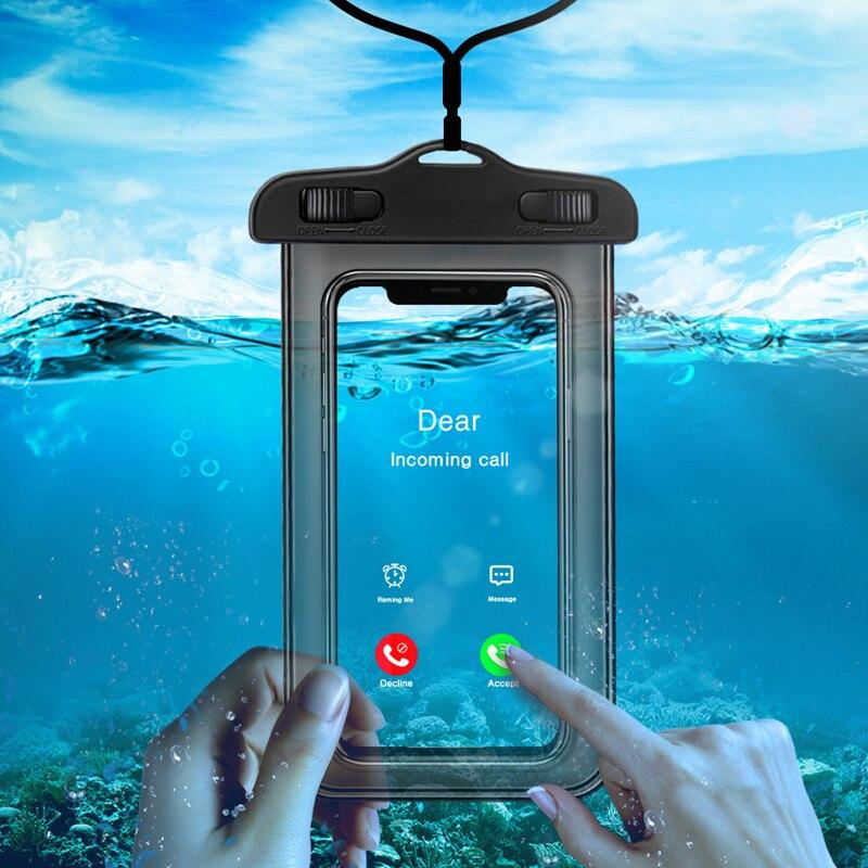 Светящийся Универсальный Водонепроницаемый Чехол для iPhone X XS MAX 8 7 6 s 5 Plus, чехол, сумка, чехлы для телефона, чехол, водонепроницаемый чехол