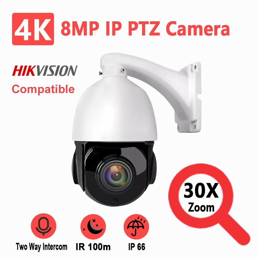 Hikvision-كاميرا أمان صغيرة ، جهاز متوافق مع 8MP ، IP ، PTZ ، 4K ، تقريب 30X ، الأشعة تحت الحمراء ، 100 متر ، مستشعر SONY IMX415 ، تنبيه صوتي ثنائي الاتجاه