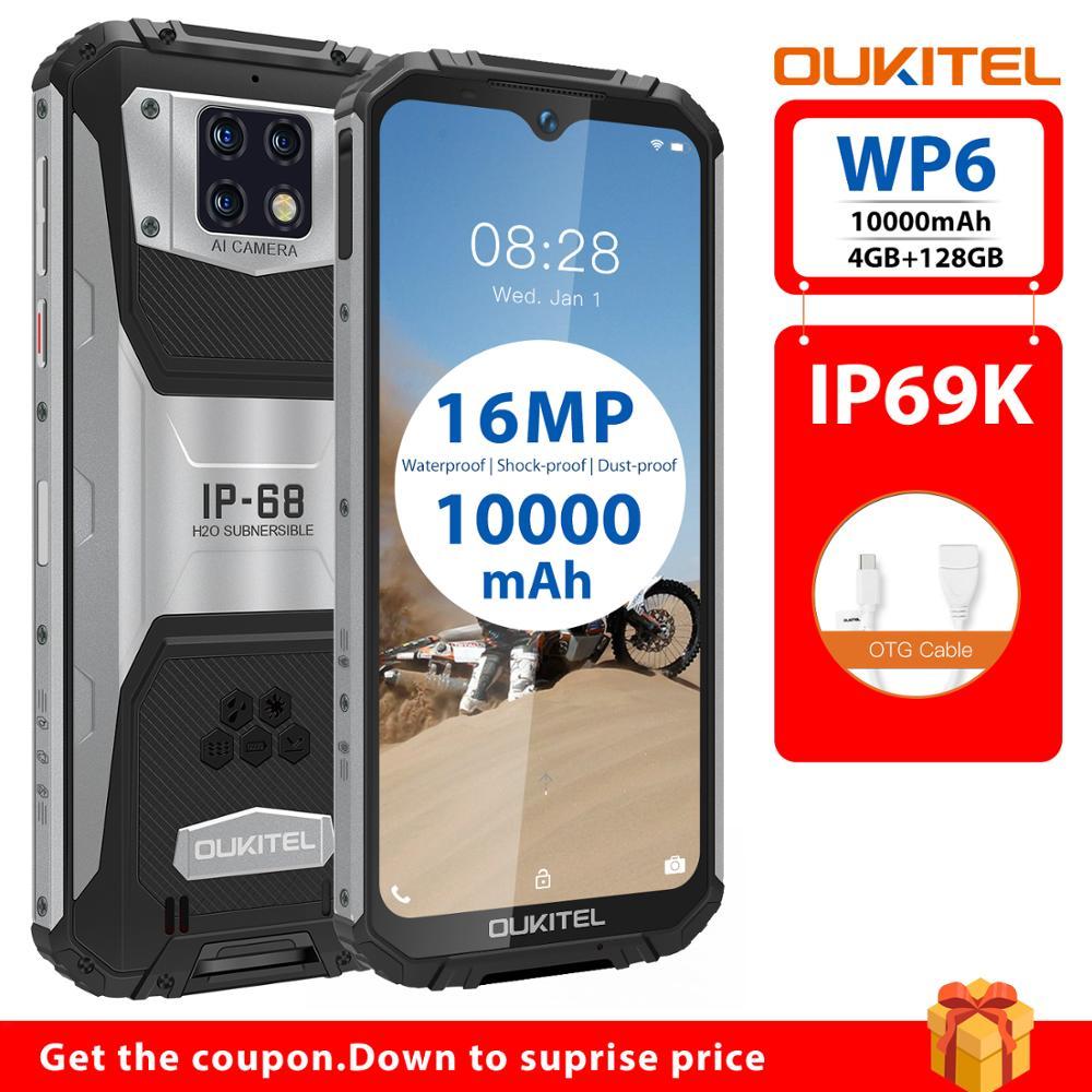 IP68 Waterproof OUKITEL WP6 10000mAh Helio P70 Smartphone 4GB 128GB Octa Core 16MP Triple Cameras 6.3'' FHD+ Rugged Mobile Phone