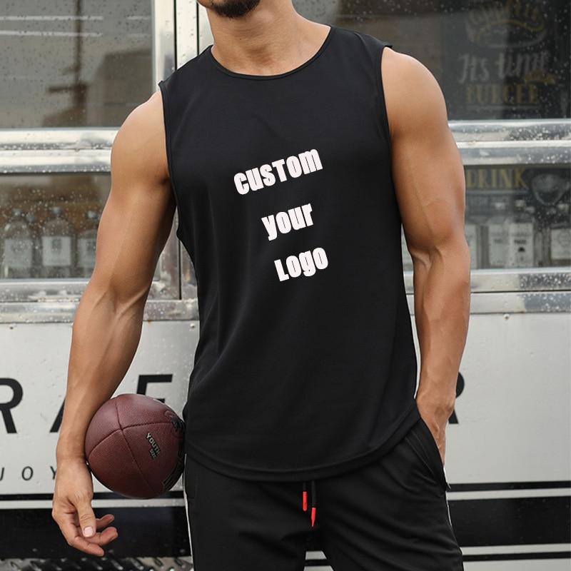Men Tank Top Custom Your Logo New High Quality Undershirt Bodybuilding Singlet Fitness Sleeveless Vest Tops