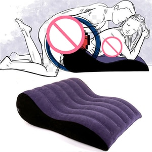 Home Inflatable Sofa Bed Wedge Flocking Adults Sexy Pillow Love Positions Support Cushion Couples BDSM Pad Erotic Furnitures