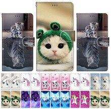 Schöne Katze Hund Flip Telefon Fall Für Sony Xperia 10 L2 L3 X XA XA1 XA2 Plus Lion Einhorn Frosch kätzchen Flip Capa Brieftasche Holster P08F