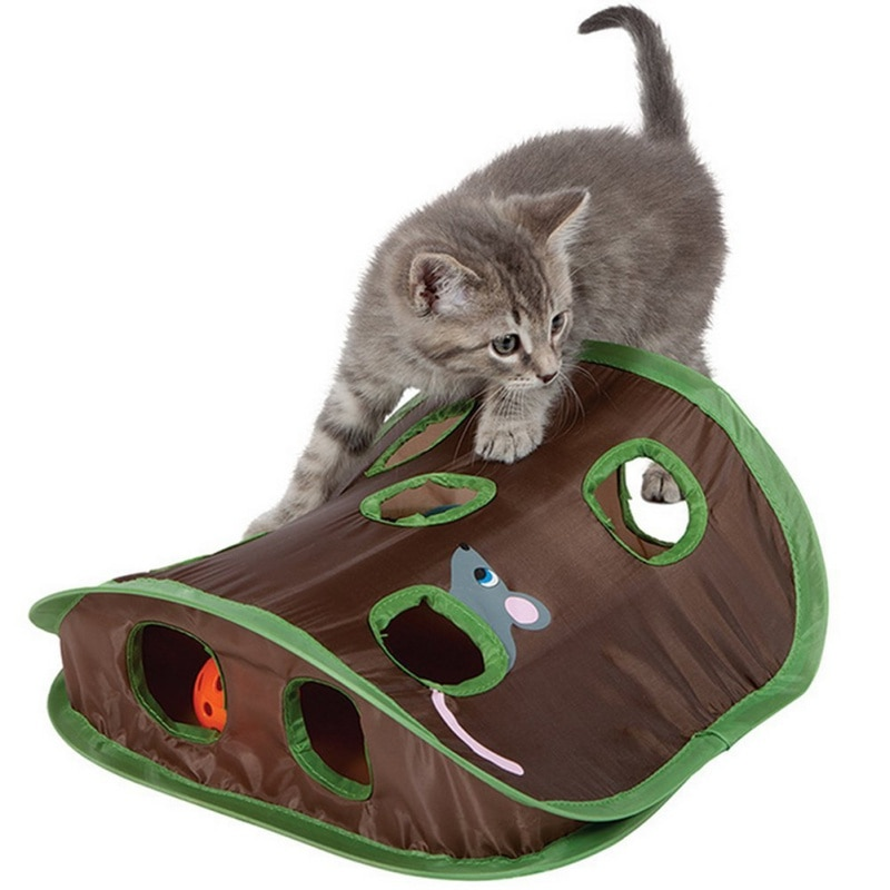 Gato de juguete interactivo Hide Seek juego Tunnel Mouse Hunt inteligencia oculta Hole Cat suministros 9 agujeros caliente