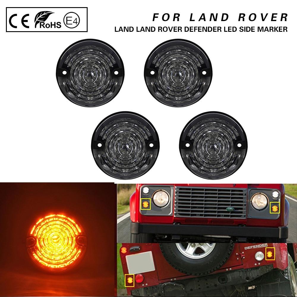 For Land Rover Defender 90/110 Series 1 2 2A 3 Front+Rear 4PCS Smoke Amber LED Side Marker Lamp indicator lights
