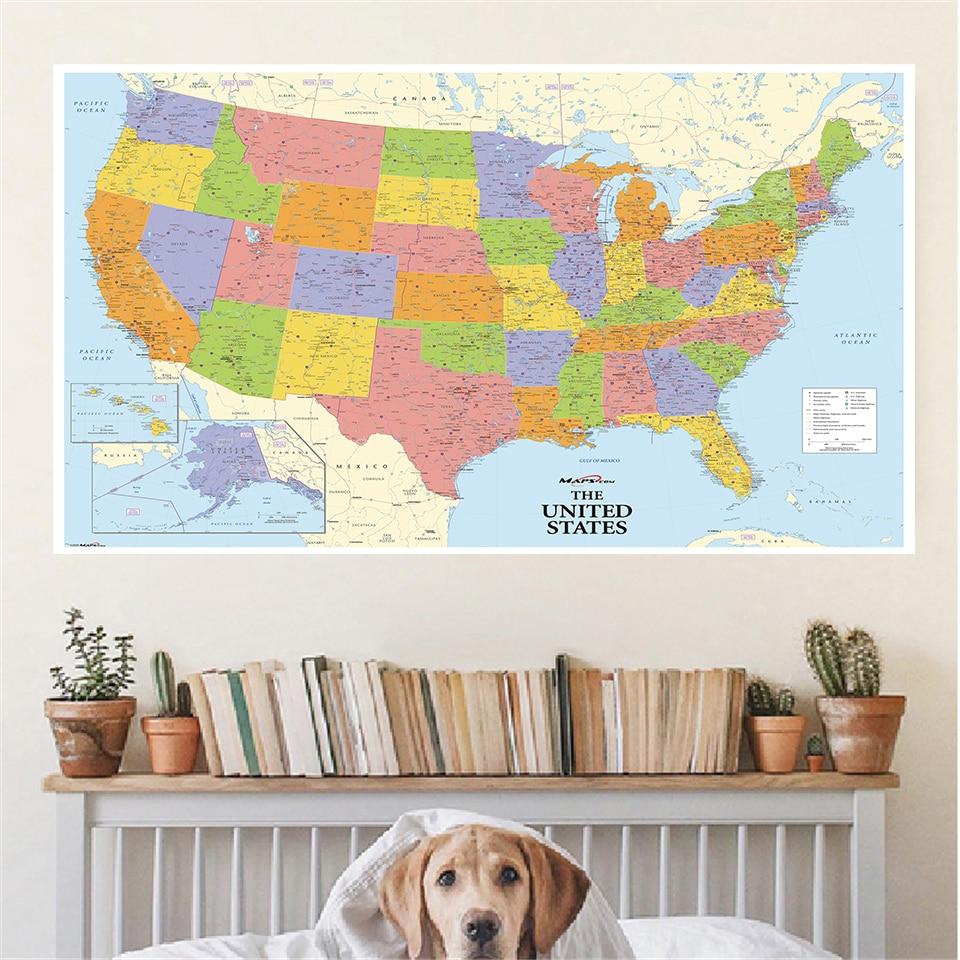 225*150 см карта США нетканый холст печать подробная карта большой плакат учебные принадлежности украшение дома