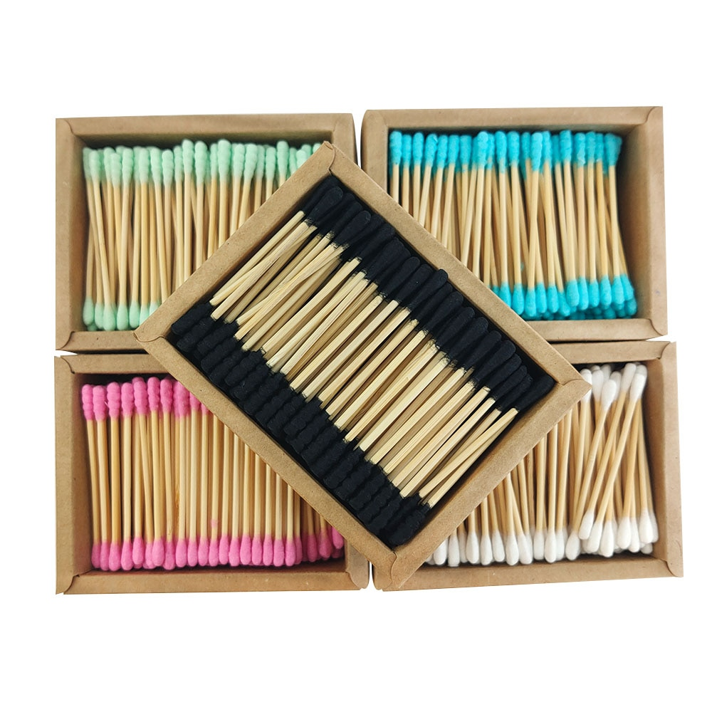 200PCS/Box Double Head Cotton Swab Bamboo Sticks Cotton Swab Disposable Buds Cotton For Beauty Makeup Nose Ears Cleaning