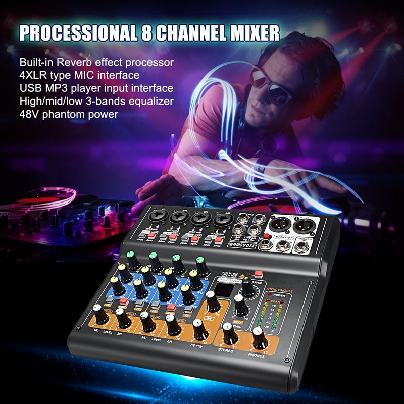 Minimezclador portátil AAAE de 8 canales, mezclador de Karaoke KTV profesional de Audio de estudio en vivo, consola mezcladora USB de 48V para la familia KTV (UE)