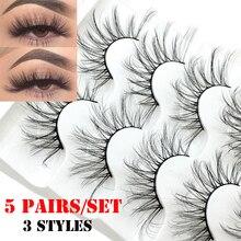 5 paires 3D/5D Faux vison cheveux Faux cils naturel Long plein Volume moelleux Wispies cils à la main outils dextension de cils