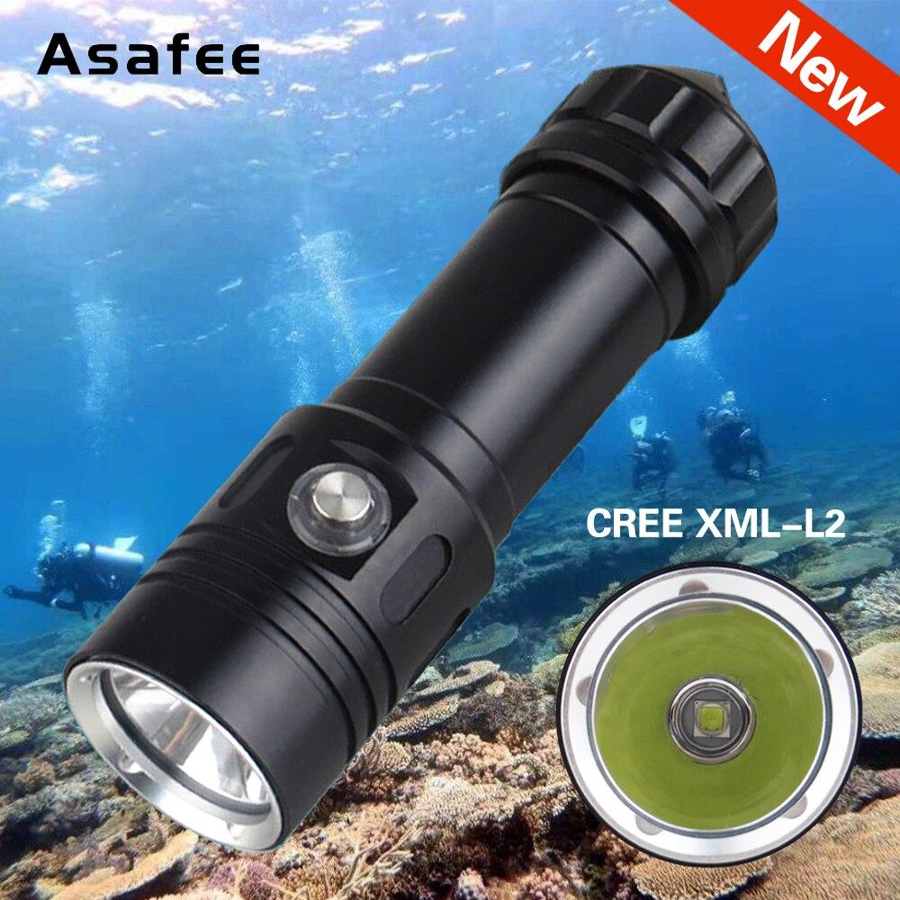 Asafee, linterna LED, linterna subacuática de 50 m, lámpara de buceo, XM-L2 impermeable, luz de buceo 26650, Mini linterna portátil de buceo