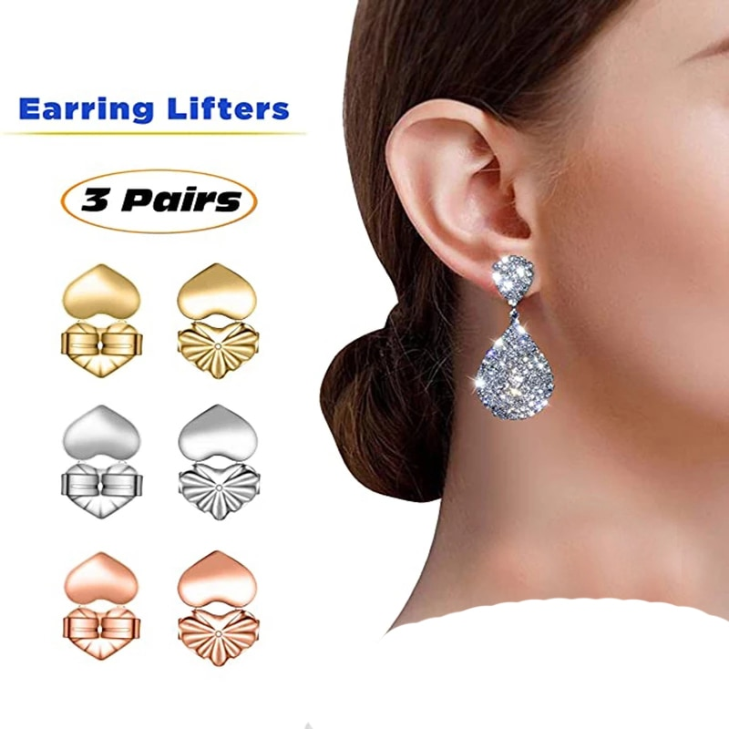 2020 Hot Sale Crown Back Stud Earrings Ladies Stand Silver Color Heart Shaped Lobe Elevator Fits Acc