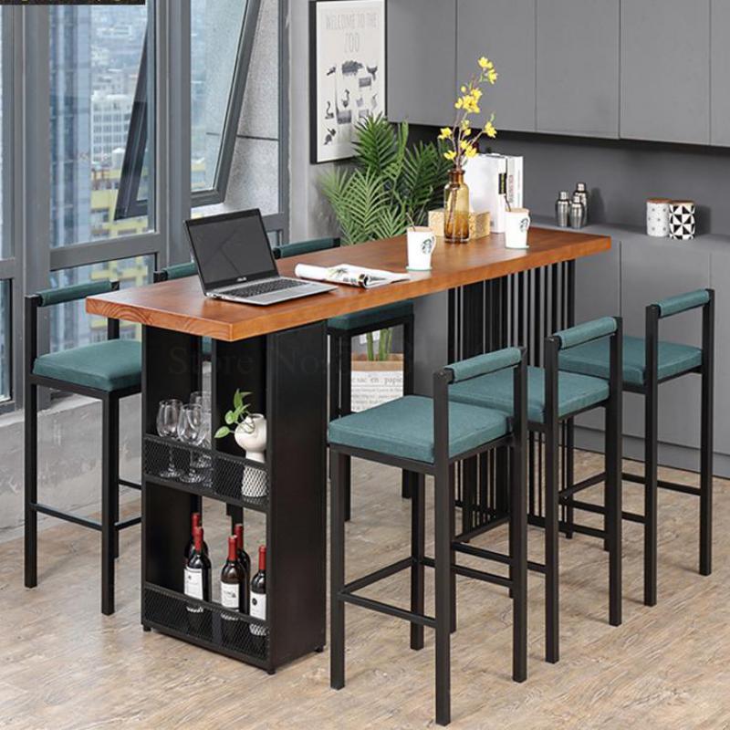 Mesa de Bar hogar cafetería multifunción mesa de Bar y silla combinación sala de estar Simple pared y ventana madera maciza Hig