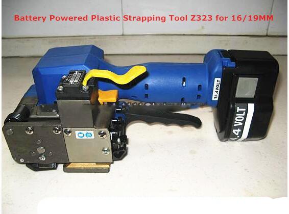 بطارية تعمل البلاستيك قضيب Z323 التلقائي المحمولة PET PP البلاستيك الربط آلة اليد الربط أداة التعبئة