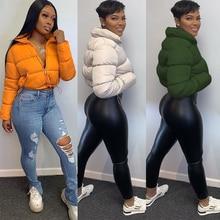 Echoine Fall Winter Women Casual Solid High Collar Long Sleeve Tops Zipper Short puffer Coat Fashion