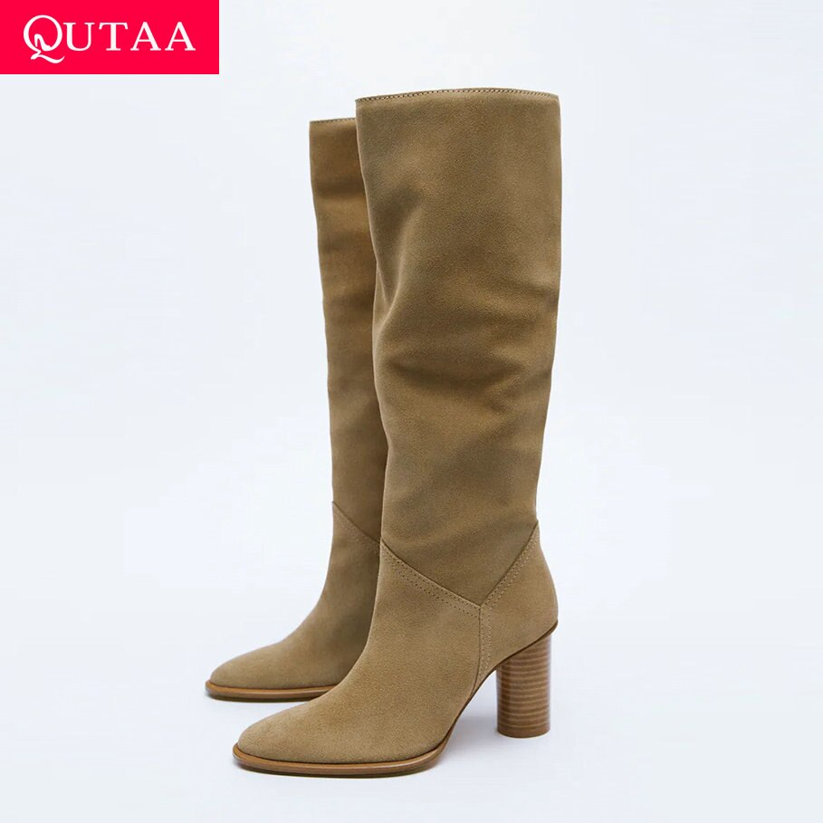 QUTAA ZA موضة النساء حذاء برقبة للركبة الشتاء جلد طبيعي أشار تو عالية الكعب INS حزب سيدة أحذية امرأة طويلة الأحذية 34-43