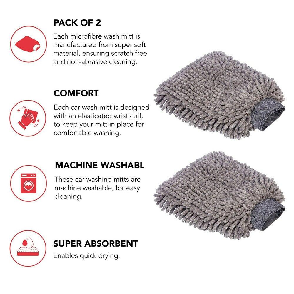 Чистящие варежки для мытья автомобиля, рукавицы из микрофибры, заменяемые рукавицы, скраб-губка