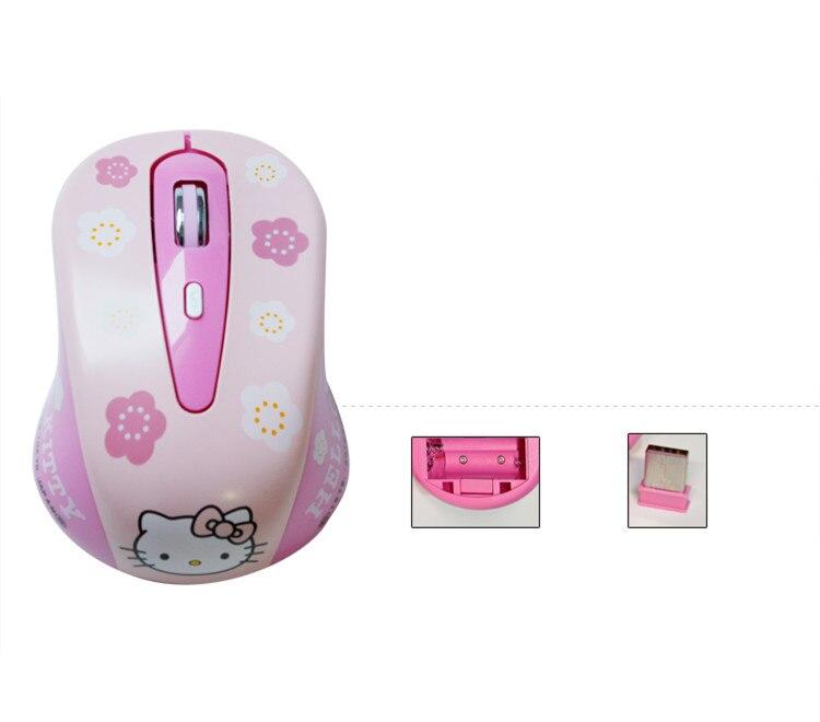 かわいいハローキティピンクワイヤレスコンピュータマウスミニギフトモウズ 1600DPI PC マウス有線 2.4Ghz の Usb 光学ラップトップマウスのための