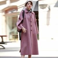 autumn and winter coat women 2019 new winter fashion elegant vintage black coffee purple wool coat belt loose long ladies coat