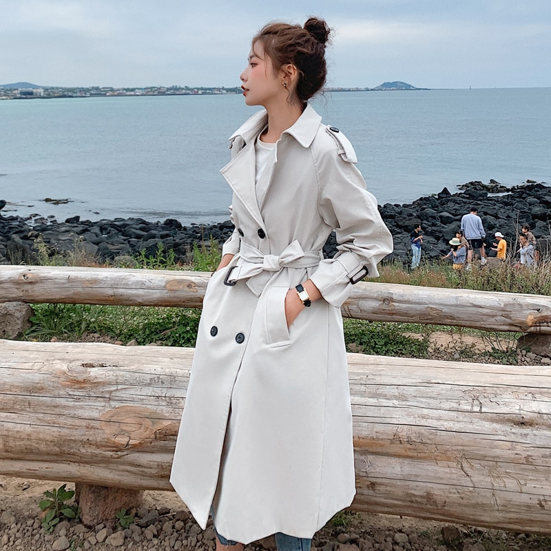 Fashion New Double-Breasted Women Trench Coat Long Belted Slim Lady Duster Coat Cloak Female Outerwear Spring Autumn Clothes chic women s trench coat spring autumn belted short coat fashion slim fit double breasted short trench coat g092