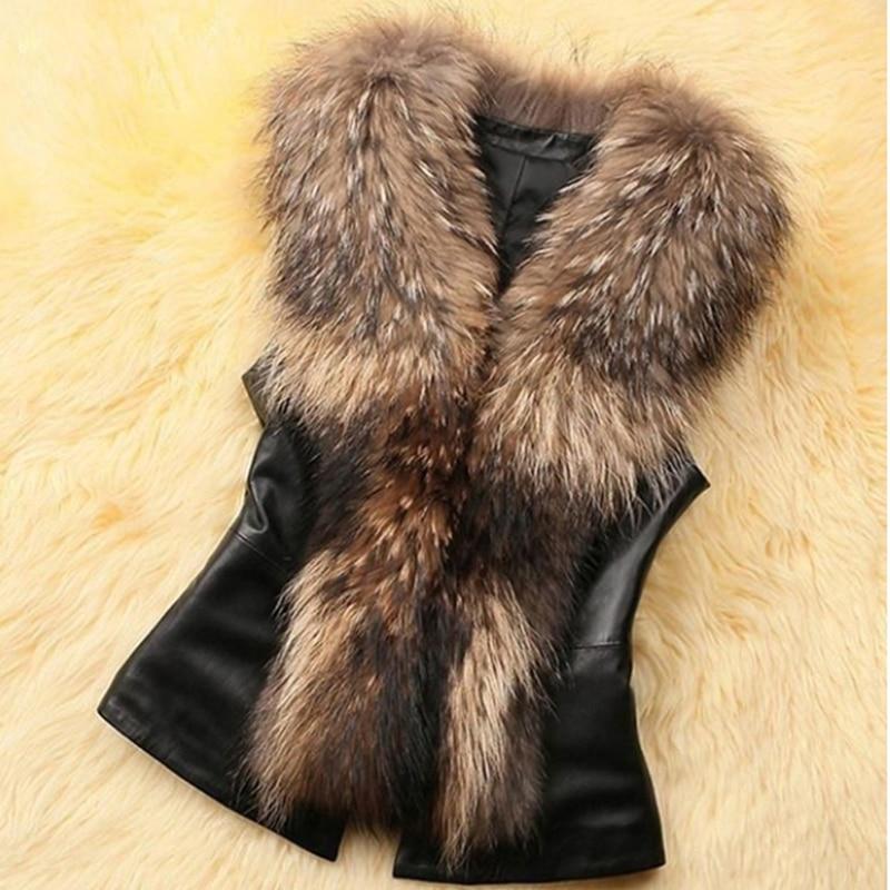 Women Leather Faux Fur Coat 2019 Casual Plus Size Sleeveless Faux Fox Fur Collar Vest Winter Jacket Coat Women