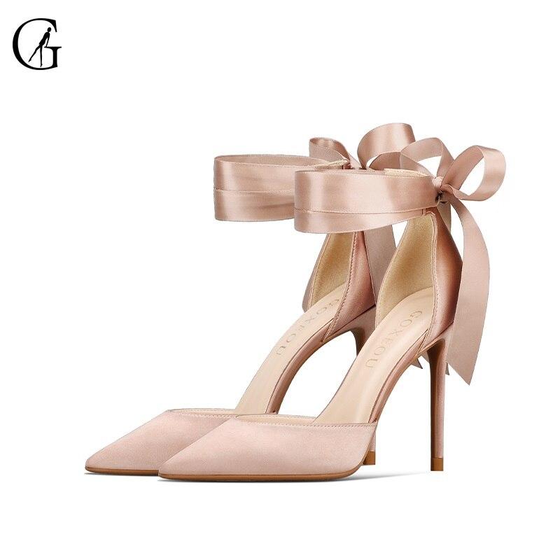 Zapatos de tacón GOXEOU para mujer, de satén, color rojo, negro, vendaje, puntiagudos, tacones altos, Sexy, dulce, a la moda, sandalias para mujer, talla 32-46