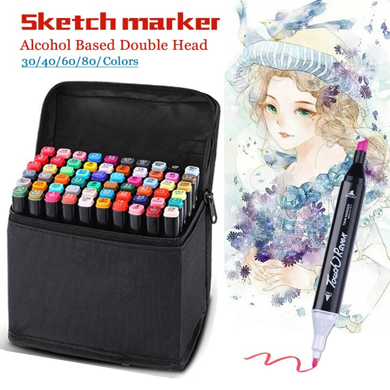 Art Markers 30/40/60/80 Color Markers Manga Drawing Markers Pen Alcohol Based Sketch Felt-Tip Oily Twin Brush Pen Art Supplies