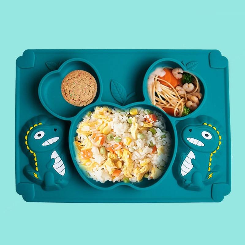Plato de alimentación de silicona para niños plato de silicona plato de alimentación de bebé 2 uds