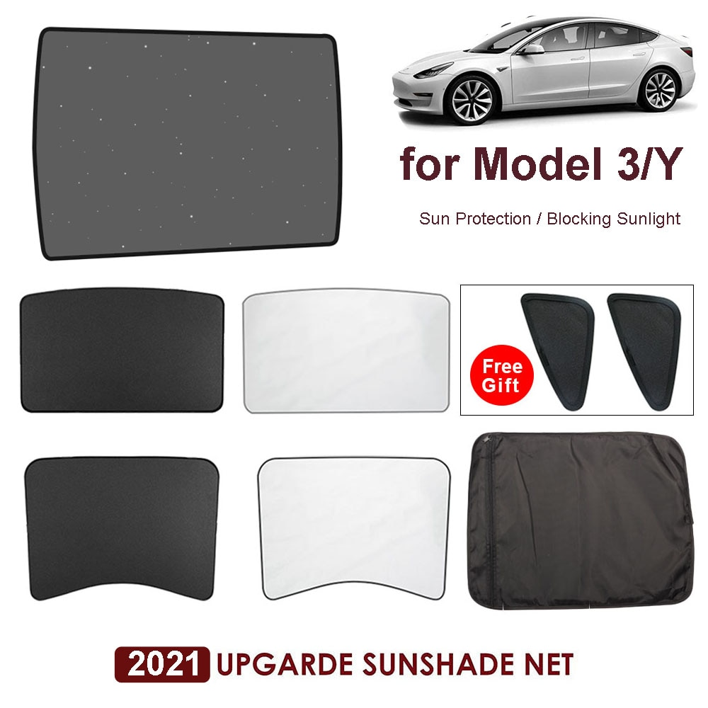 Улучшенные солнцезащитные шторы, стеклянные для крыши, Солнцезащитный Для Tesla Model 3 2021/Model Y, затеняющая сетка для лобового стекла и крыши