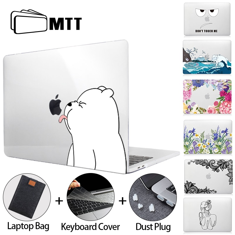 floral crystal clear print hard case for macbook pro 13 15 2016 touch bar laptop bag air pro retina 12 13 15 with keyboard cover MTT Cut Cartoon Case for Macbook Air Pro 11 12 13 15 16 Touch Bar Crystal Hard Cover For Macbook Pro 13 funda a2289 a2338 a2337