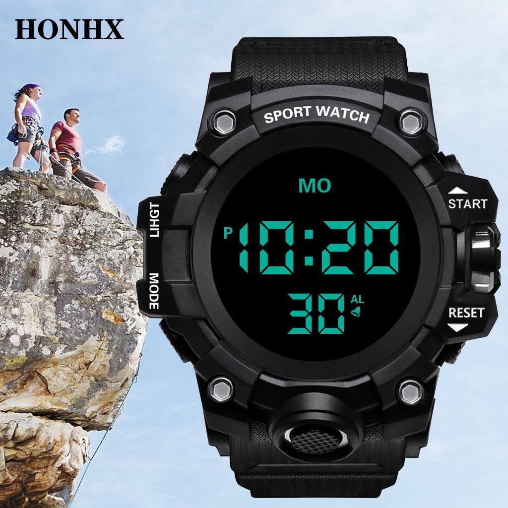 Relojes de hombre de la marca HONHX, reloj Digital LED para hombre, reloj de pulsera de alarma negra a 30m, relojes deportivos impermeables para hombre